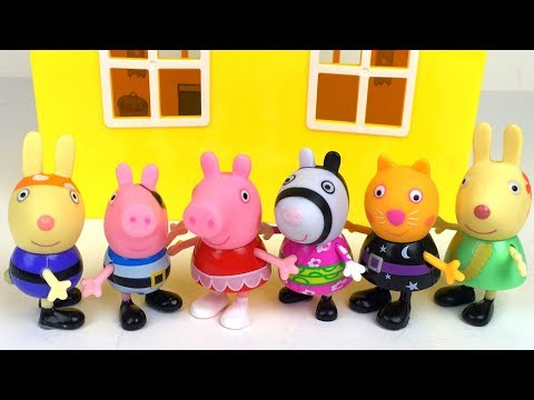 STORY WITH PEPPA PIG AND FRIENDS CANDY CAT RICHARD & REBECCA  RABBIT - DRESS UP AND SLEEPOVER PARTY