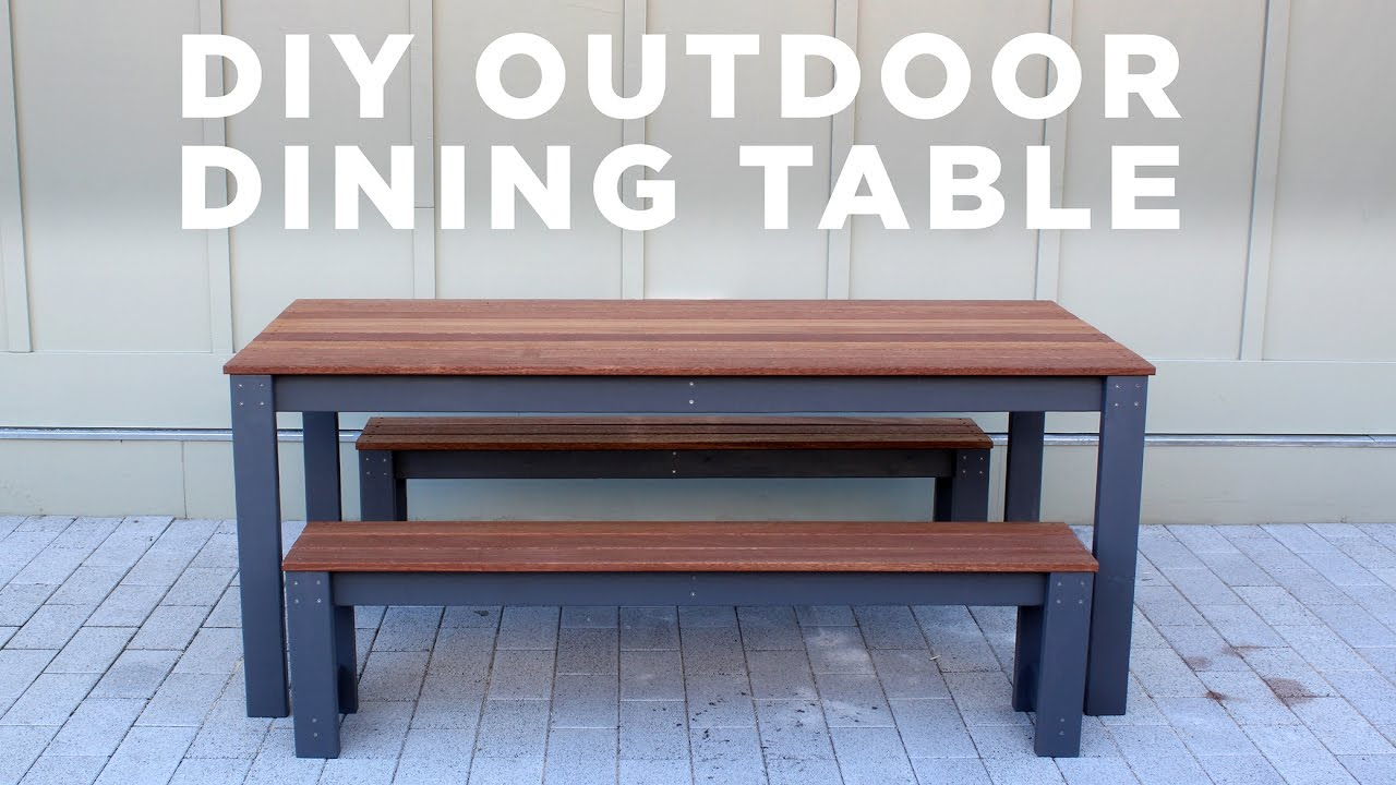 DIY Modern Outdoor Table And Benches YouTube - High top dining table with bench