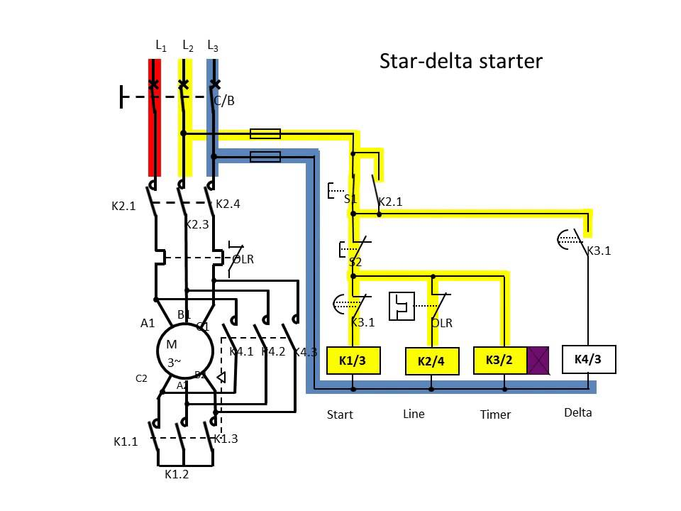 dol direct on-line  star delta starter connection