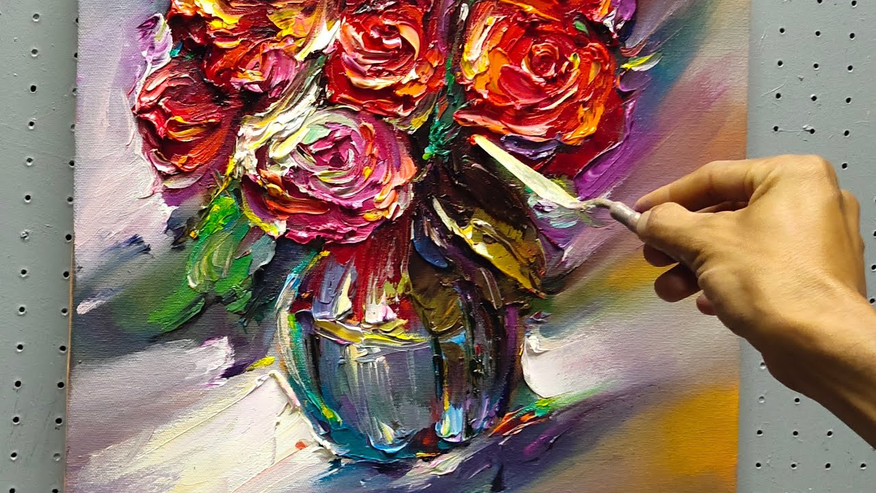 Download still life/paint with palette knife/*roses painting sieries*