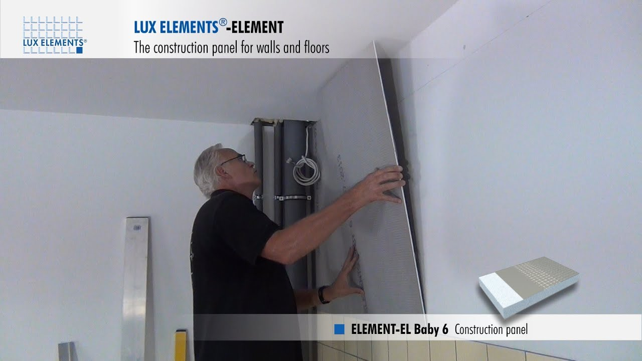 Lux elements installation construction panel element for wall levelling over - Revetement mural pvc pour salle de bain ...