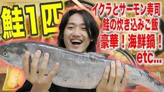 【挑戦】料理1㍉も出来ない素人がサーモン1本丸ごと使ってどれだけ作れるのか?【24時間生活番外編】