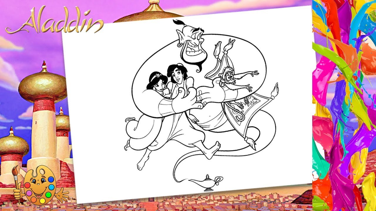 Aladdin Jasmine With Genie Abu Magic Carpet Coloring Pages For