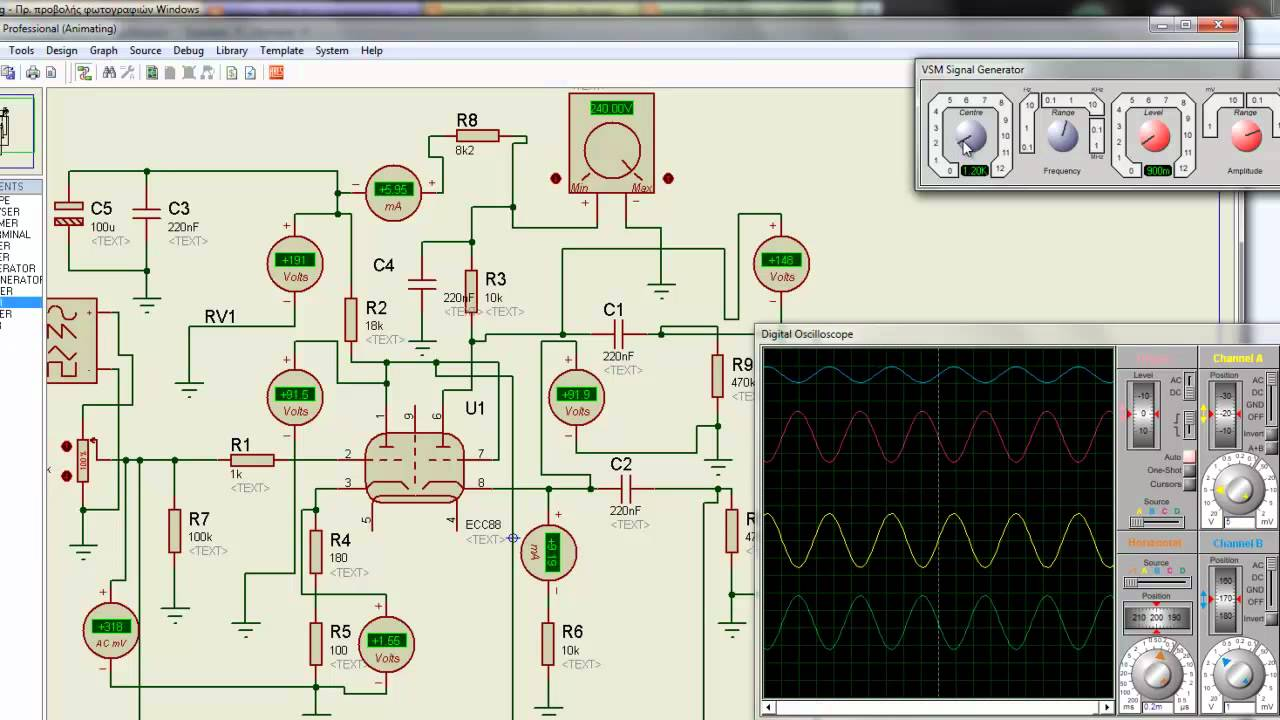 Proteus ecc88 tube circuit simulation - YouTube