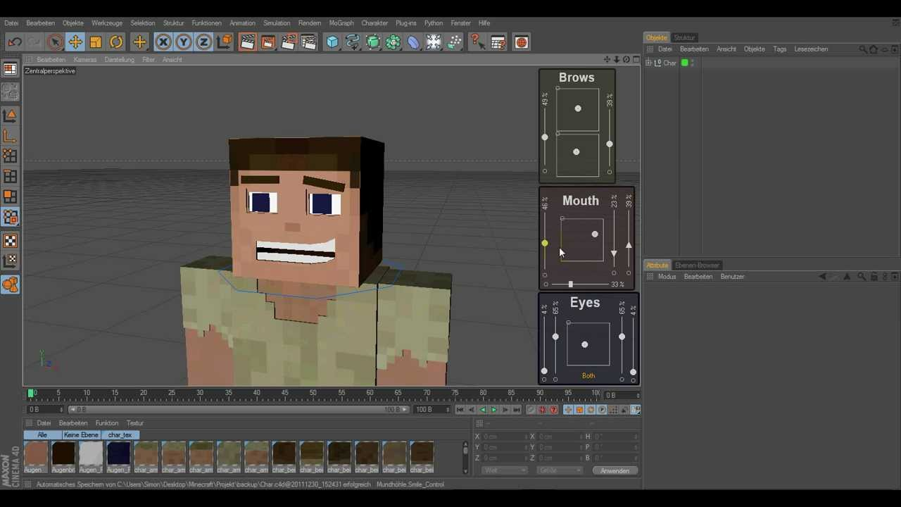 Minecraft 3d character facial rig cinema 4d youtube Minecraft 3d model maker