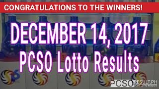PCSO Lotto Results Today December 14, 2017 (6/49, 6/42, 6D, Swertres, STL & EZ2)