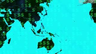 【フリーの動画素材】世界地図とお金 Global Economy Map