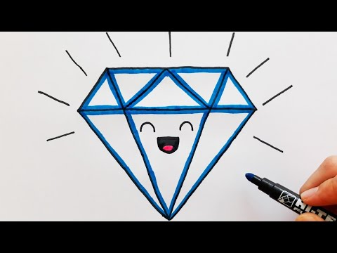 Sevimli Elmas Çizimi - KAWAİİ ÇİZİM - How To Draw A Diamond Drawing And Coloring - KAWAİİ DİAMOND