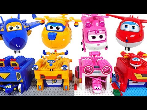 Super Wings! Transform launcher Lego block create play with Tayo! - DuDuPopTOY