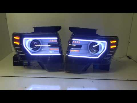 Ford F150 Headlights >> Custom Ford F-150/Raptor Headlights and Tail Lights by The Lighting Firm - YouTube