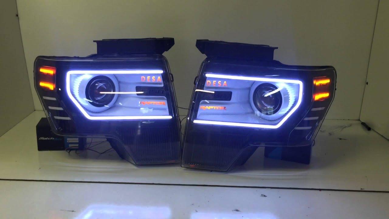 Custom F 150 >> Custom Ford F-150/Raptor Headlights and Tail Lights by The Lighting Firm - YouTube