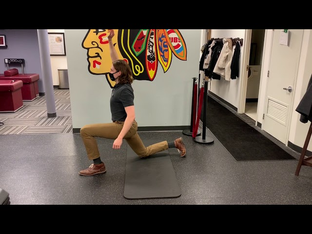 Kneeling Split Squats with Overhead Reach