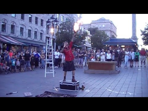 Very Funny Eric the Street Performer in Old Montreal Quebec Canada