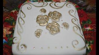 Бисквитный торт. Обтяжка и украшение квадратного торта мастикой.Как быстро украсить квадратный торт.