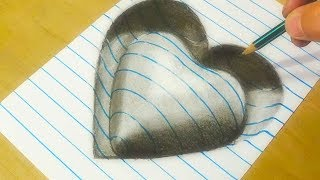 Drawing 3D Heart Shape - Trick Art on Line Paper - VamosART