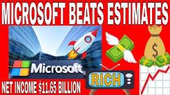 MICROSOFT (NASDAQ: MSFT) STOCK UP 4% ON EARNINGS BEAT