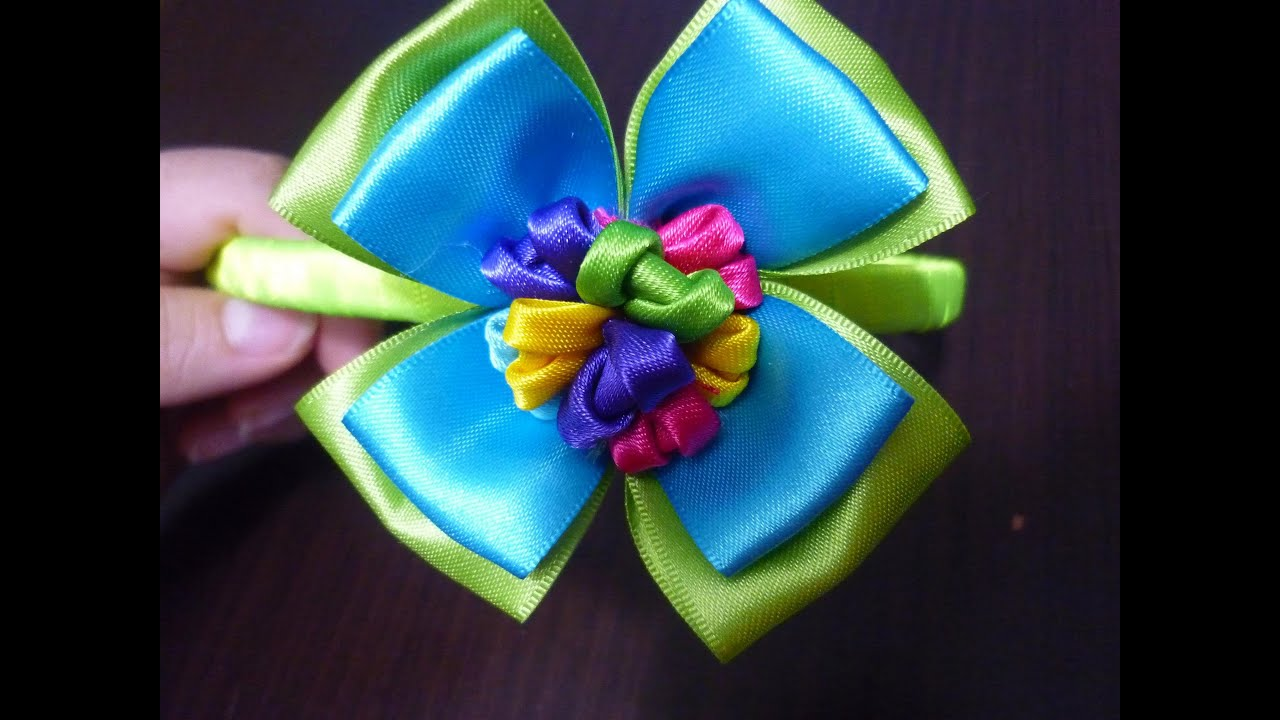 Tutorial flor liston raso tutorial flower liston raso how to make bows mo os y flores youtube - Manualidades con lazos ...
