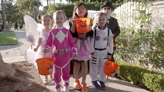 Trick-or-Treating with Macey, Brielle, Claire, Nate and Lil' Mushroom