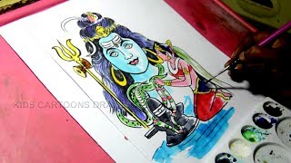 How to Draw Lord Shiva and Parvati Drawing for Kids