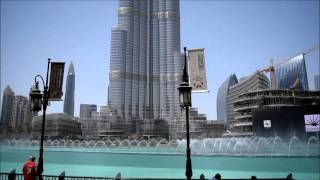 Dubai Fountain and Burj Khalifa Daytime
