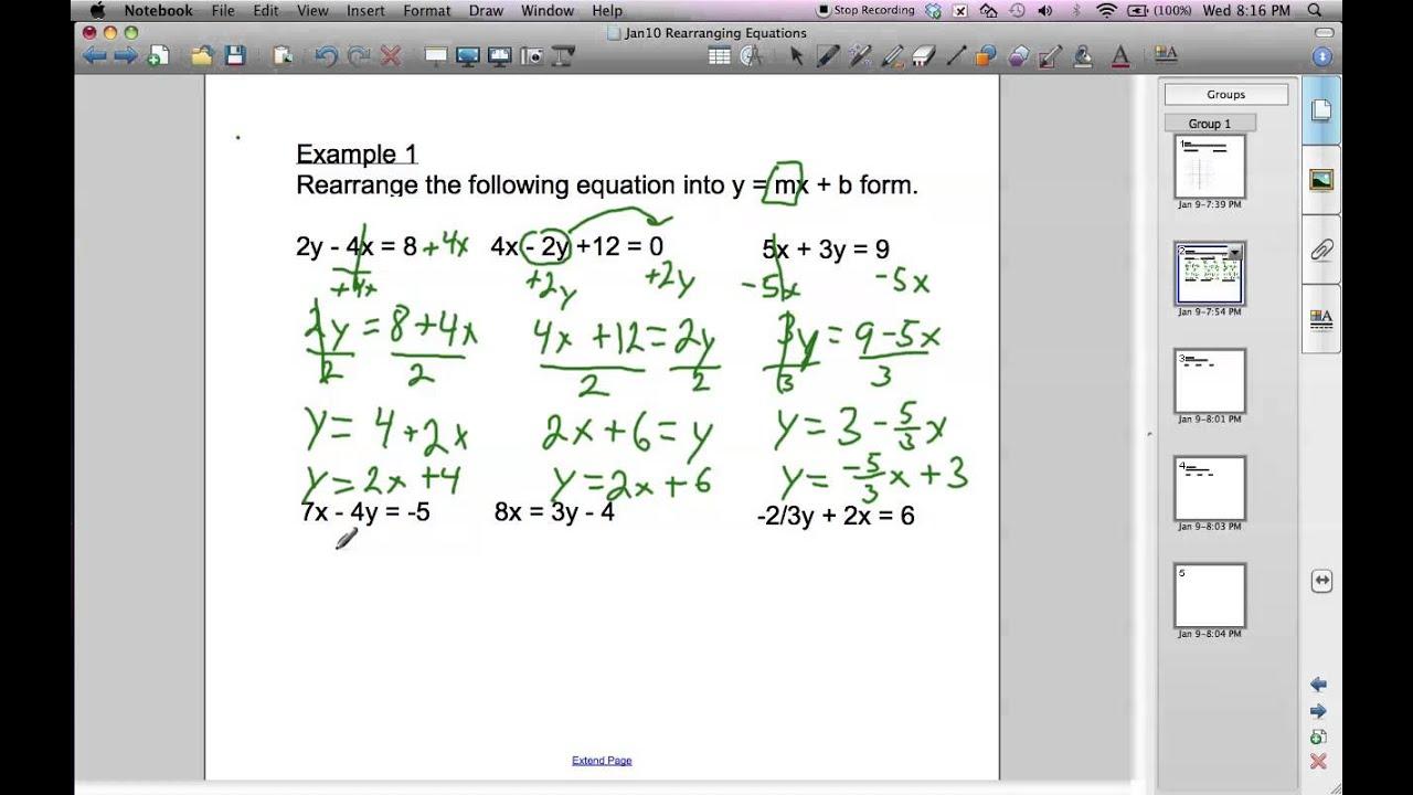 Rearranging equations into slope intercept form youtube rearranging equations into slope intercept form falaconquin