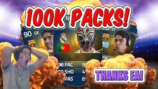 100K PACKS!!! THANK YOU EA! (FIFA 15 PACK OPENING)
