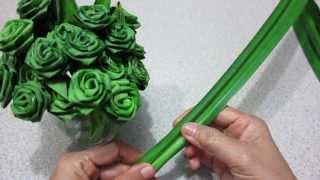 ดอกกุหลาบจากใบเตย