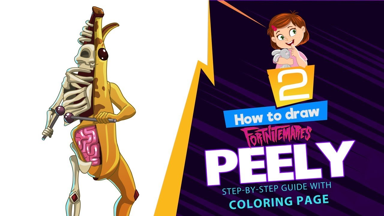 How to draw Halloween Peely Bone | Fortnitemare step-by ...