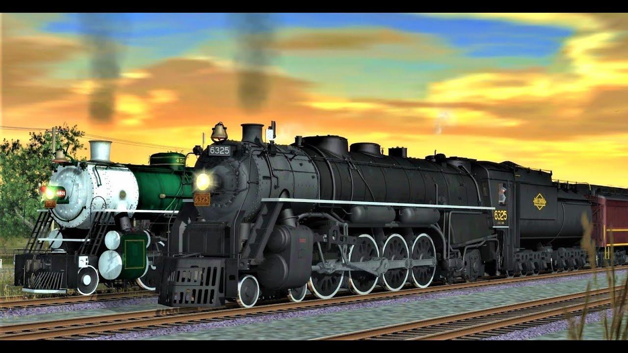 Ohio Central 6325 vs Southern 4501 + N&W Class J #611 (Trainz)