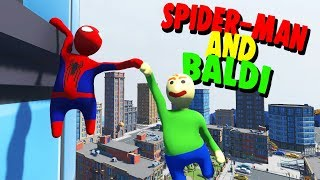 BALDI AND SPIDER-MAN HANG OUT IN THE BIG CITY! | Human Fall Flat