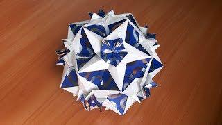 Полный Мастер Класс Как Собрать Оригами Шар Из Бумаги Кусудама Кассиопея из 12 и 30 Модулей Без Клея