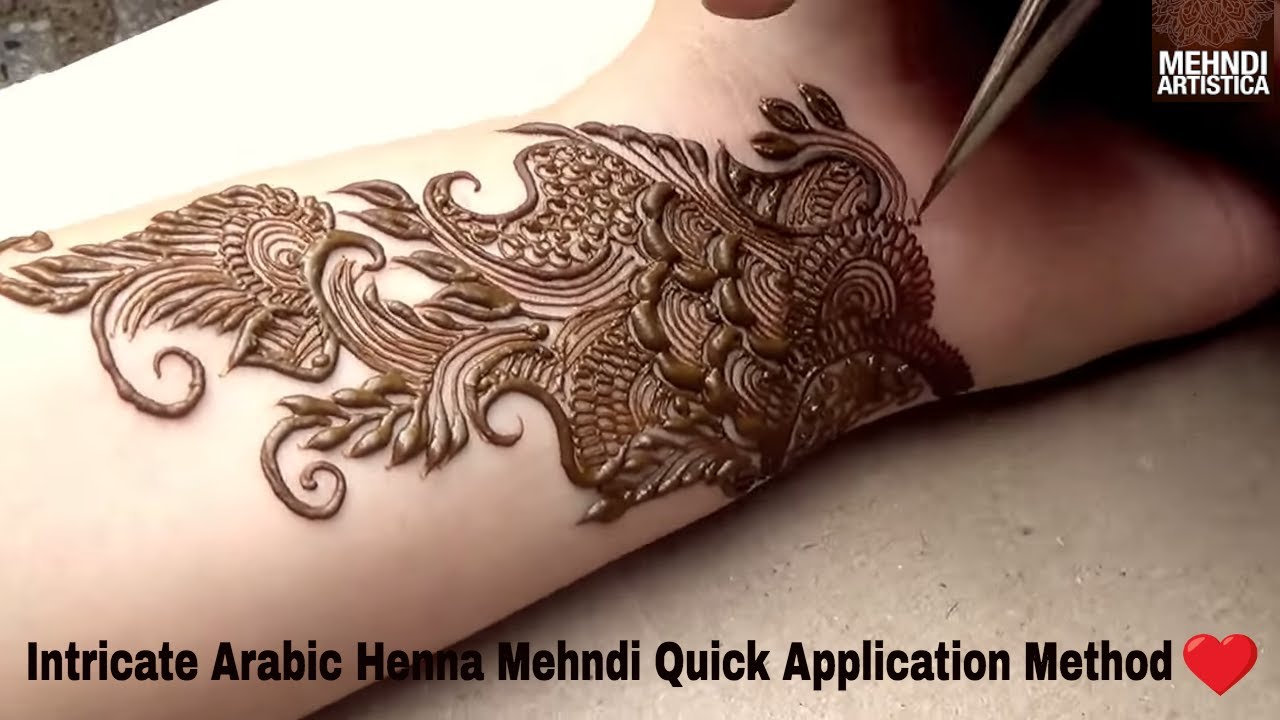 "Intricate Henna Designs: How To Apply Easily ""Intricate Arabic Henna Mehndi Design"