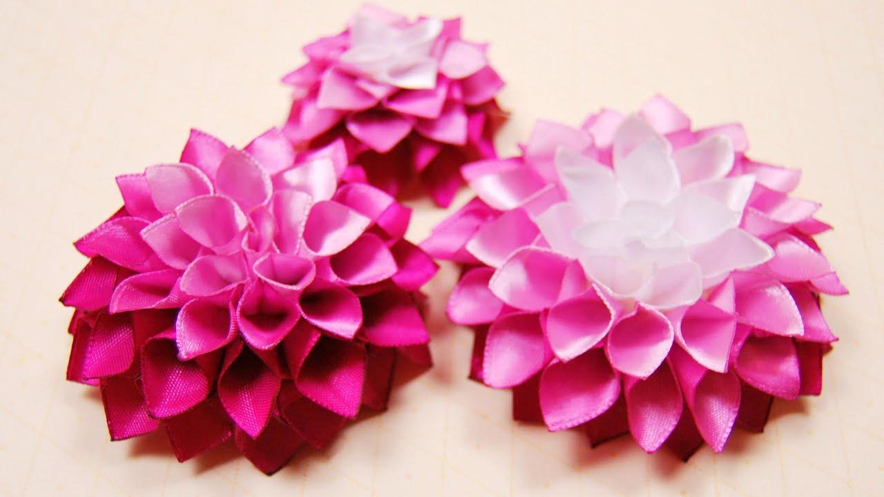 Пышный цветок из ленты своими руками пошаговое 74