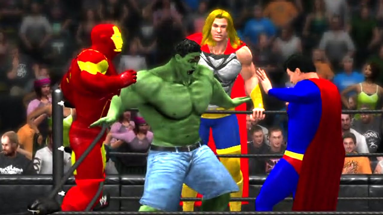 wwe 2k15 avengers vs justice league tag team match youtube