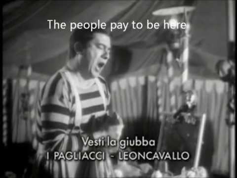 I Pagliacci Vesti la giubba Giuseppe Di Stefano subtitles