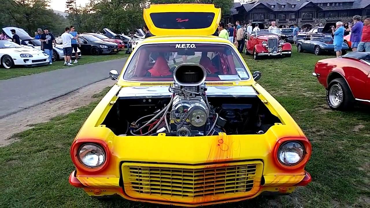 1971 YELLOW + WRAP CHEVROLET VEGA 426 BLOWER ENGINE RACE CAR - YouTube