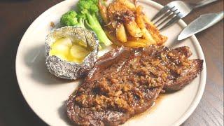 俠飯的嘗試-煎牛排 ,牛肉土豆條 ,燒蒜