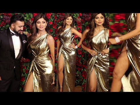 Shilpa Shetty Smoknig Hot In Slit Gold Dress At Deepika Ranveer Reception Party