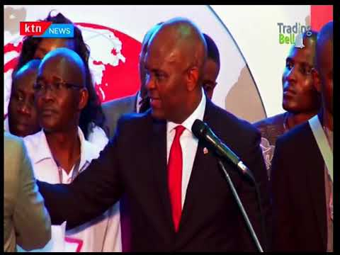 Tony Elumelu rings the bell at the Nairobi Stock Exchange