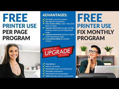 FREE PRINTER PROGRAM ( PER PAGE, FIX MONTHLY, CARTRIDGES PROCUREMENT, ON DEMAND PURCHASE)