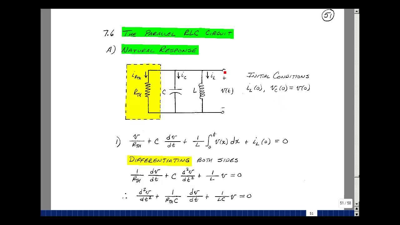 ece201msu chapter 7 natural response of a parallel rlc circuit rh youtube com