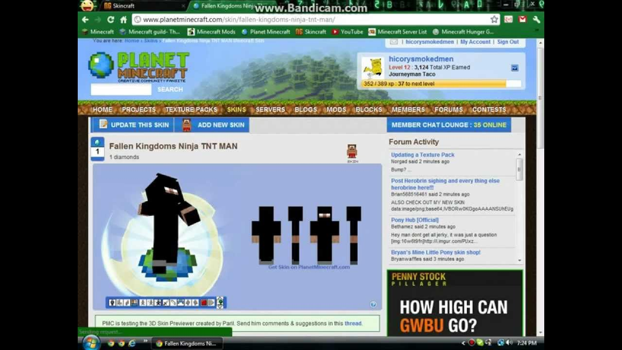 how to upload a skin to planet minecraft youtube