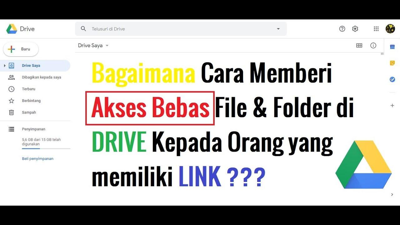 Bagaimana Cara Memberi Akses Bebas File Folder Di Drive Kepada Orang Yang Memiliki Link Youtube