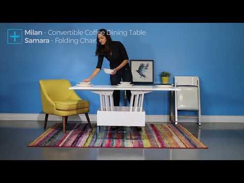 Milan Convertible Coffee Dining Table & Samara Folding Chair • Small ...