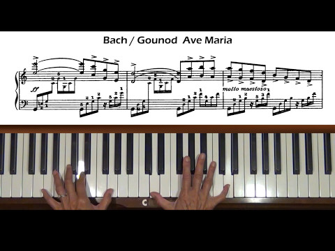 Bach/Gounod Ave Maria Slow Piano Tutorial (with score)