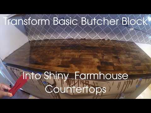 DIY butcher block counter transformation with stain and epoxy glaze coat