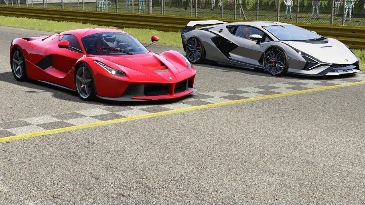 Ferrari Laferrari Vs Lamborghini Sian At Monza Full Course Youtube