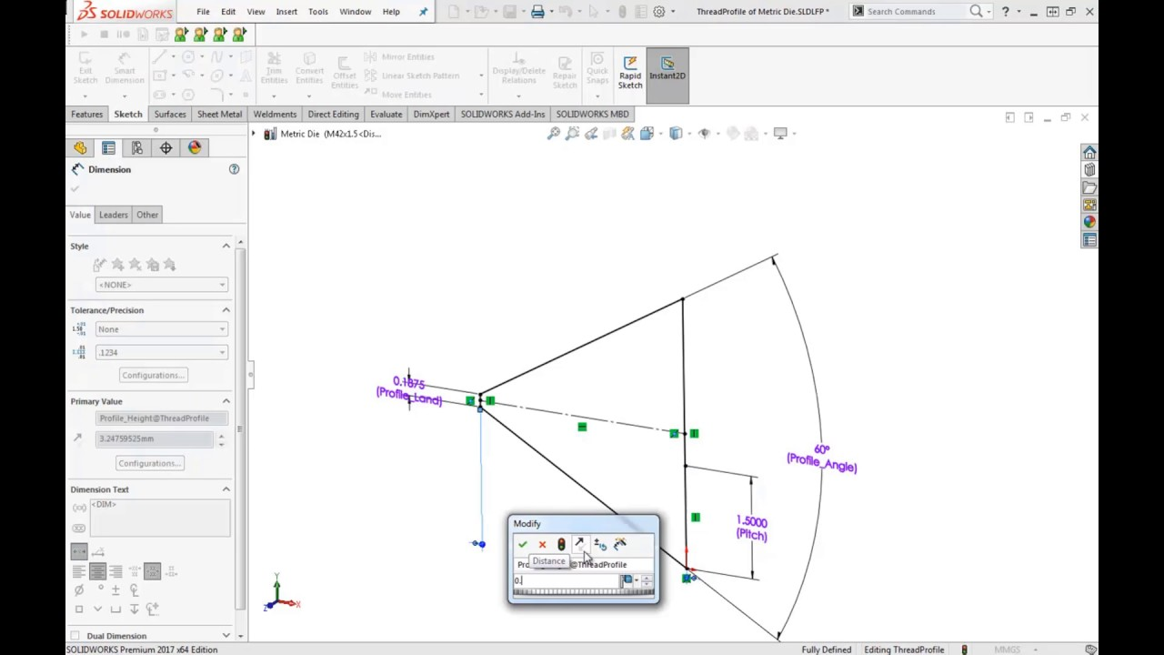 solidworks hints & tips: adding a custom thread