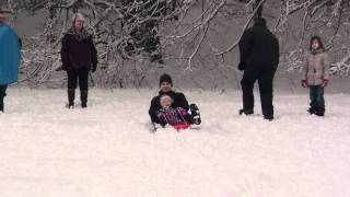 Sophie Sledging down hill 2 @ Priory Park - 22 Months