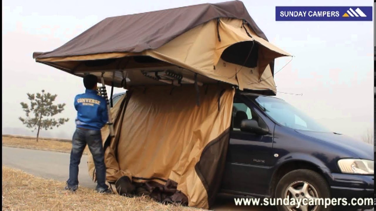 Set up annex room roof top tent fast - YouTube